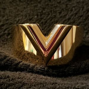 Authentic Louis Vuitton V Gold Cuff Bracelet